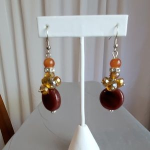 Brown and Amber Colored Beaded Pierced Earrings